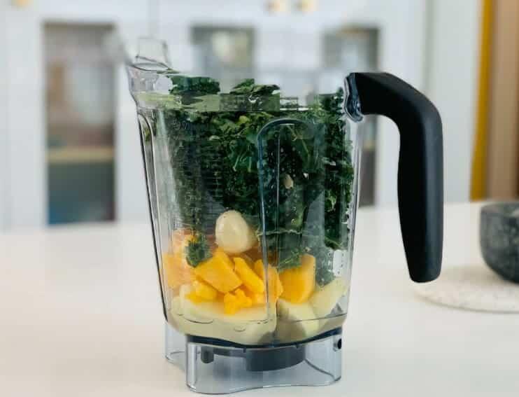 healthy meal in blender